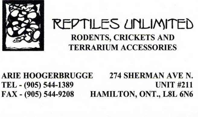 Reptiles Unlimited - Business Card