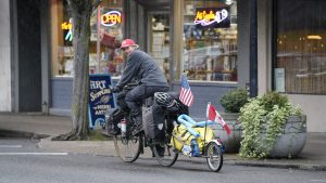 pulling a fully loaded bike trailer