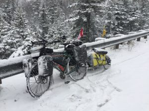 My bike and trailer during the winter