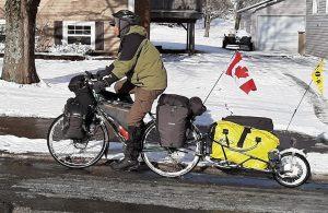 a winter bike tour set up