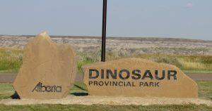 enterace sign of Dinosaur Provincial Park Alberta