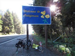 entering California by bike