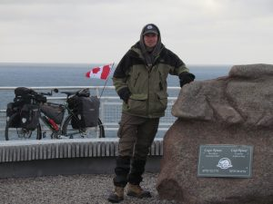 bike, man, Cape Spear Newfoundland