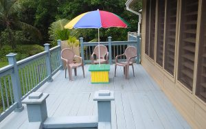 front house deck, table, chairs