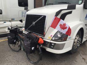 bike leaned against truck