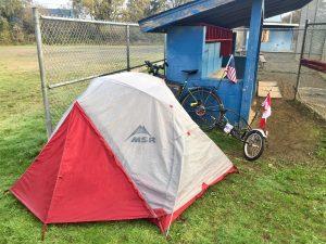 stealth camping at baseball diamond