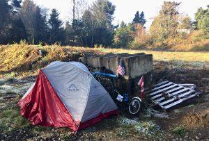 stealth camping behind debris