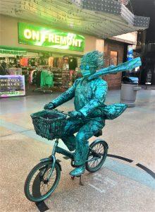 living statue bike man